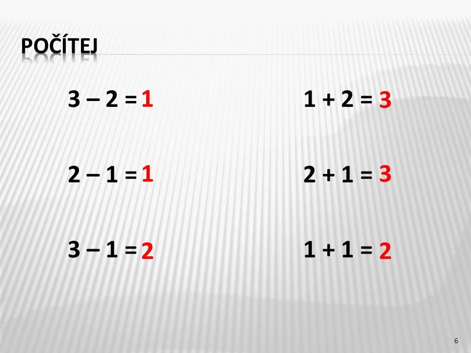 3 – 2 =1 + 2 = 2 – 1 =2 + 1 = 3 – 1 =1 + 1 = 6 1 1 2 3 3 2