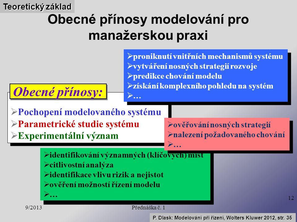 9/2013Přednáška č. 1 12 Obecné přínosy modelování pro manažerskou praxi  Pochopení modelovaného systému  Parametrické studie systému  Experimentáln