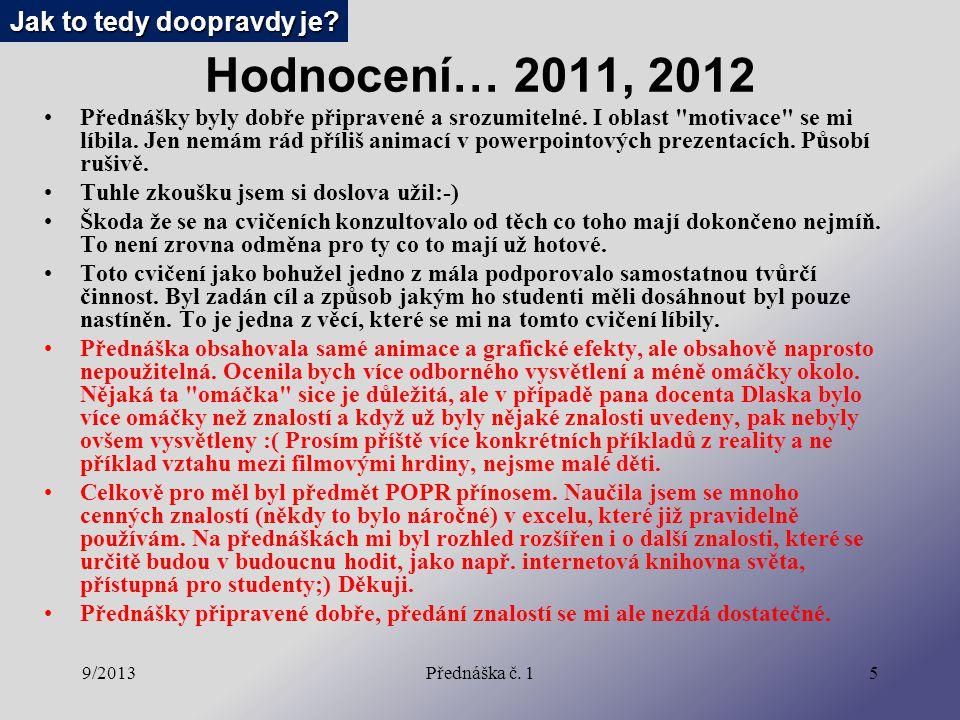 9/2013Přednáška č. 15 Hodnocení… 2011, 2012 Přednášky byly dobře připravené a srozumitelné.