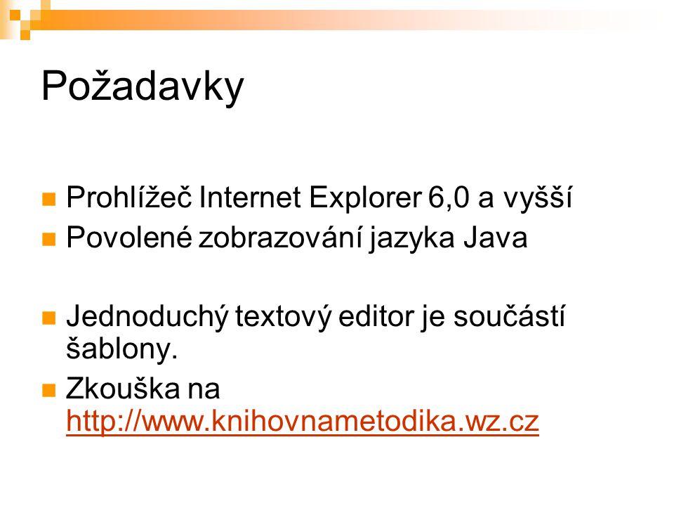Požadavky Prohlížeč Internet Explorer 6,0 a vyšší Povolené zobrazování jazyka Java Jednoduchý textový editor je součástí šablony.