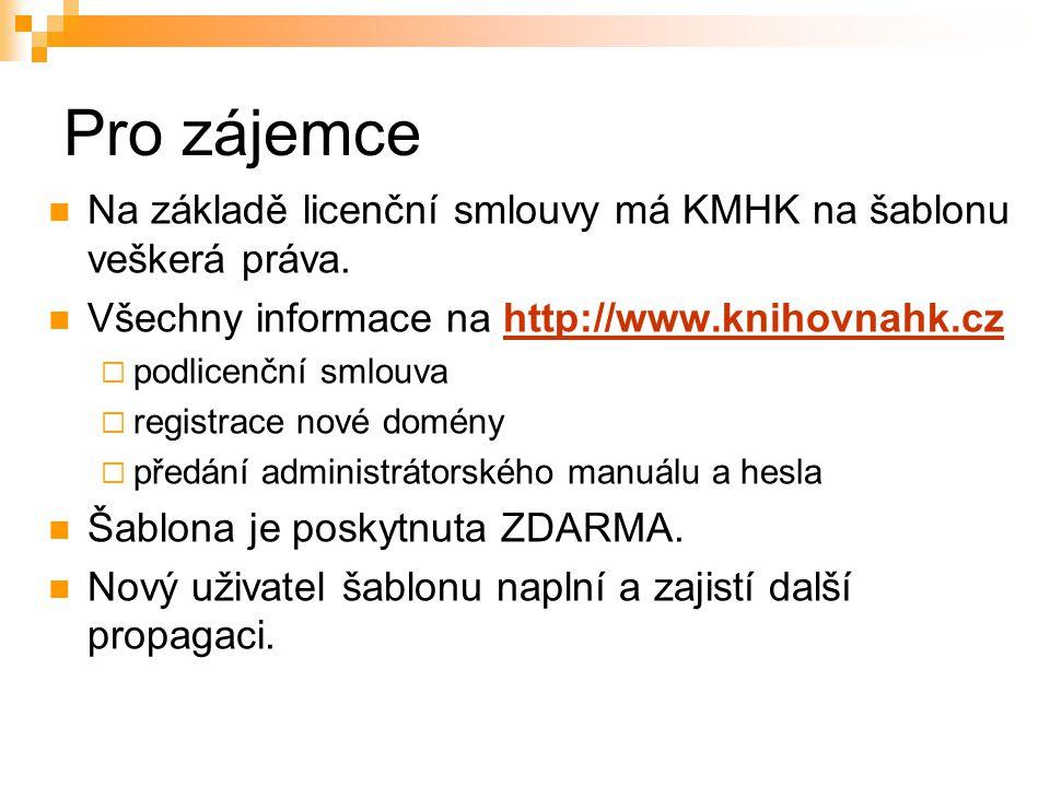 Pro zájemce Na základě licenční smlouvy má KMHK na šablonu veškerá práva.