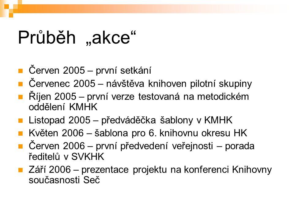 """Průběh """"akce Červen 2005 – první setkání Červenec 2005 – návštěva knihoven pilotní skupiny Říjen 2005 – první verze testovaná na metodickém oddělení KMHK Listopad 2005 – předváděčka šablony v KMHK Květen 2006 – šablona pro 6."""