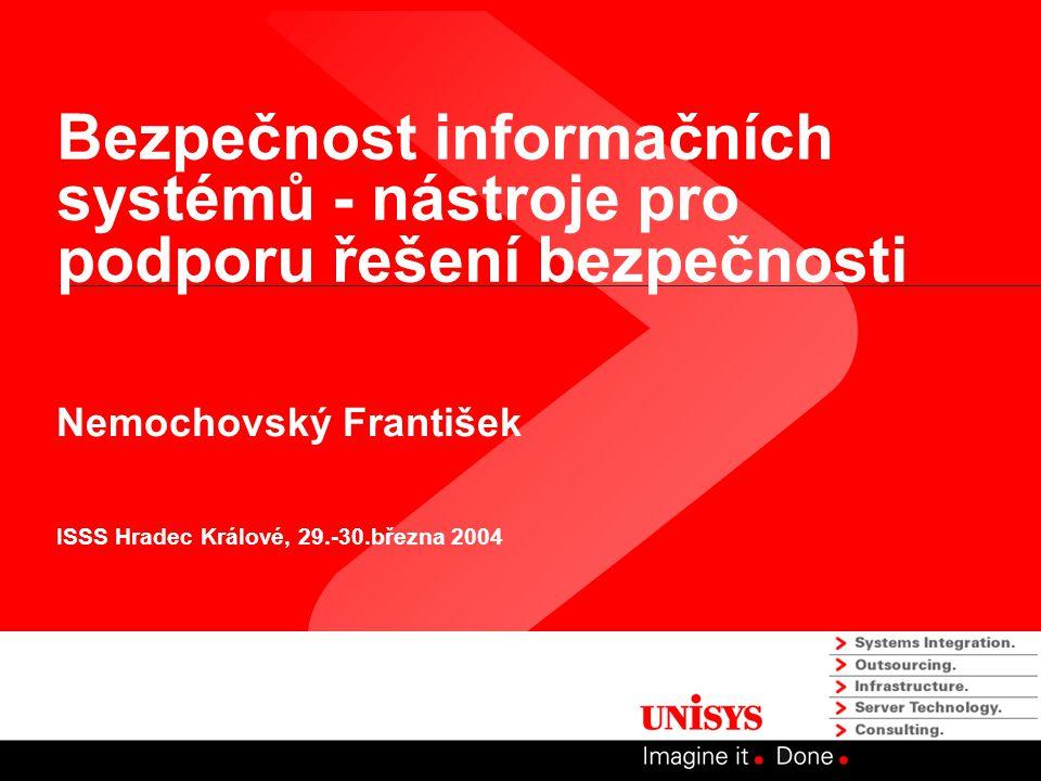 Bezpečnost informačních systémů - nástroje pro podporu řešení bezpečnosti Nemochovský František ISSS Hradec Králové, 29.-30.března 2004