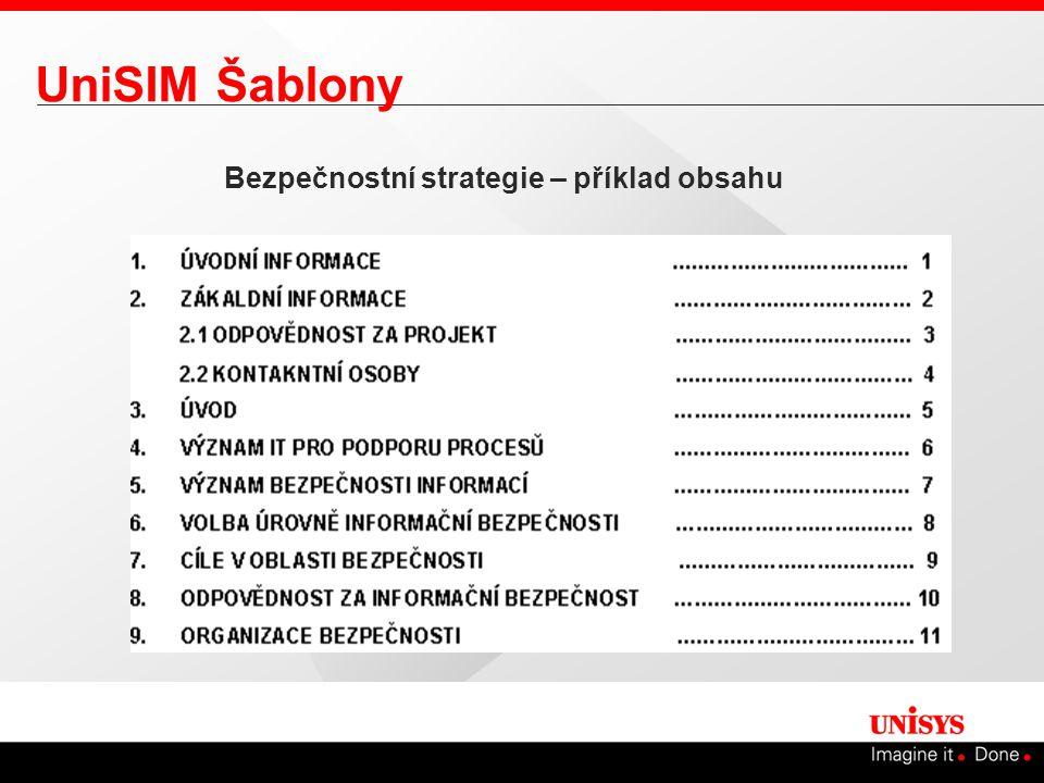 UniSIM Šablony Bezpečnostní strategie – příklad obsahu Připravené šablony pro řešení jednotlivých etap Východisko pro přípravu šablon – BS7799 Při řešení etap jsou tyto šablony modifikovány do konkrétního prostředí