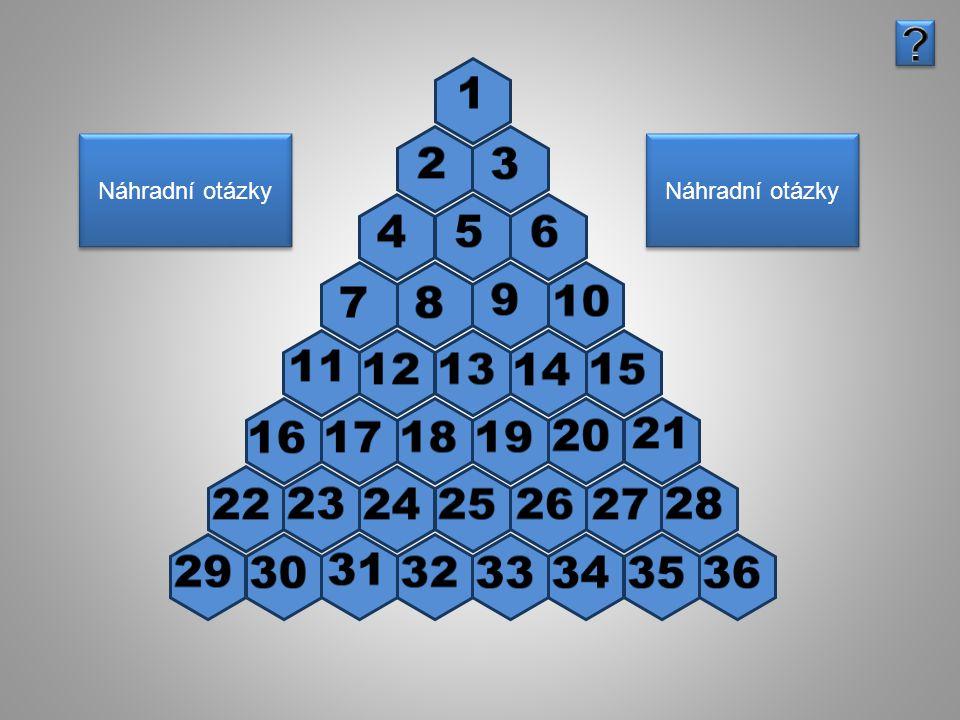 Otázka, zadání: 4 Odpověď: 4 Pyramida Náhradní otázky Náhradní otázky