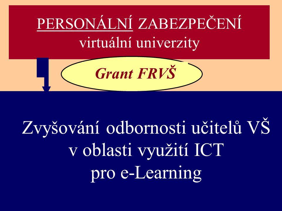 PERSONÁLNÍ ZABEZPEČENÍ virtuální univerzity Grant FRVŠ Zvyšování odbornosti učitelů VŠ v oblasti využití ICT pro e-Learning