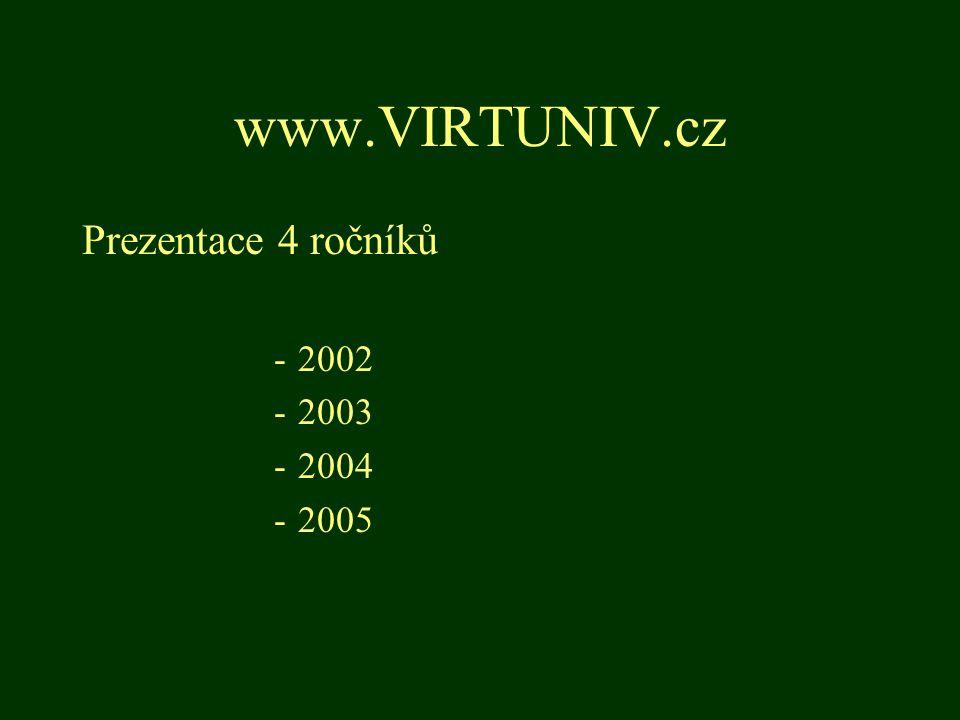 www.VIRTUNIV.cz Prezentace 4 ročníků -2002 -2003 -2004 -2005