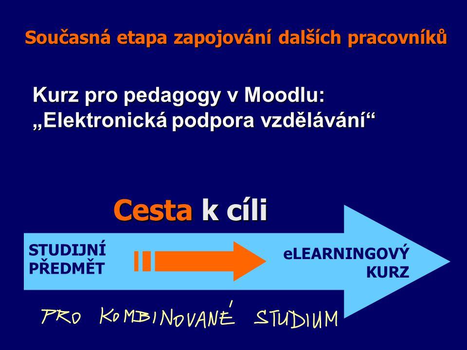 """Současná etapa zapojování dalších pracovníků STUDIJNÍ PŘEDMĚT eLEARNINGOVÝ KURZ Cesta k cíli Kurz pro pedagogy v Moodlu: """"Elektronická podpora vzdělávání"""