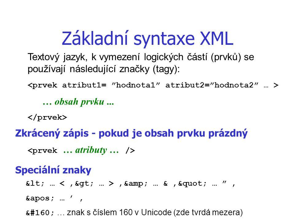 Základní syntaxe XML … obsah prvku... Zkrácený zápis - pokud je obsah prvku prázdný Textový jazyk, k vymezení logických částí (prvků) se používají nás