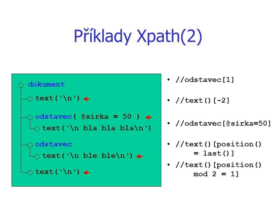 Příklady Xpath(2) dokument text('\n') odstavec( @sirka = 50 ) text('\n bla bla bla\n') odstavec text('\n ble ble\n') text('\n') //odstavec[1] //text()[-2] //odstavec[@sirka=50] //text()[position() = last()] //text()[position() mod 2 = 1]