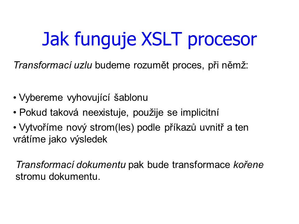 Jak funguje XSLT procesor Transformací uzlu budeme rozumět proces, při němž: Pokud taková neexistuje, použije se implicitní Vytvoříme nový strom(les) podle příkazů uvnitř a ten vrátíme jako výsledek Transformací dokumentu pak bude transformace kořene stromu dokumentu.
