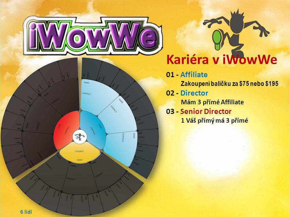 Kariéra v iWowWe 01 - Affiliate Zakoupení balíčku za $75 nebo $195 02 - Director Mám 3 přímé Affiliate 3 lidí
