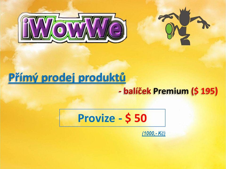 Přímý prodej produktů - základní balíček Basic ( $ 75) Přímý prodej produktů - základní balíček Basic ( $ 75) Provize - $ 25 (500,- Kč)