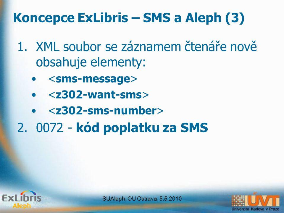 SUAleph, OU Ostrava, 5.5.2010 Koncepce ExLibris – SMS a Aleph (3) 1.XML soubor se záznamem čtenáře nově obsahuje elementy: 2.0072 - kód poplatku za SMS