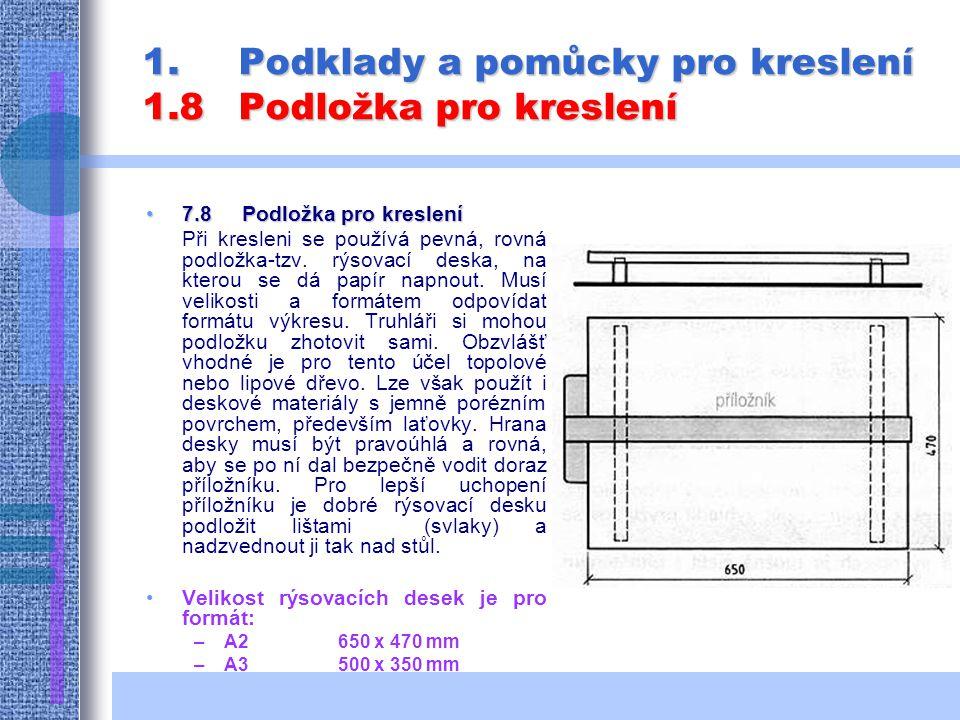 1.Podklady a pomůcky pro kreslení 1.8Podložka pro kreslení 7.8 Podložka pro kreslení7.8 Podložka pro kreslení Při kresleni se používá pevná, rovná podložka-tzv.