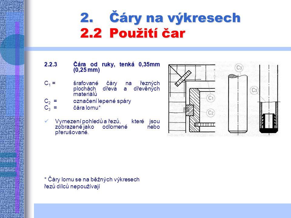 2.Čáry na výkresech 2.2Použití čar 2.2.3Čára od ruky, tenká 0,35mm (0,25 mm) C 1 = šrafované čáry na řezných plochách dřeva a dřevěných materiálů C 2 = označení lepené spáry C 3 = čára lomu* Vymezení pohledů a řezů, které jsou zobrazené jako odlomené nebo přerušované.