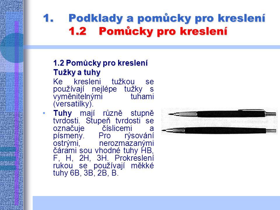 1.P odklady a pomůcky pro kreslení 1.2Pomůcky pro kreslení 1.2 Pomůcky pro kreslení Tužky a tuhy Ke kresleni tužkou se používají nejlépe tužky s vyměnitelnými tuhami (versatilky).