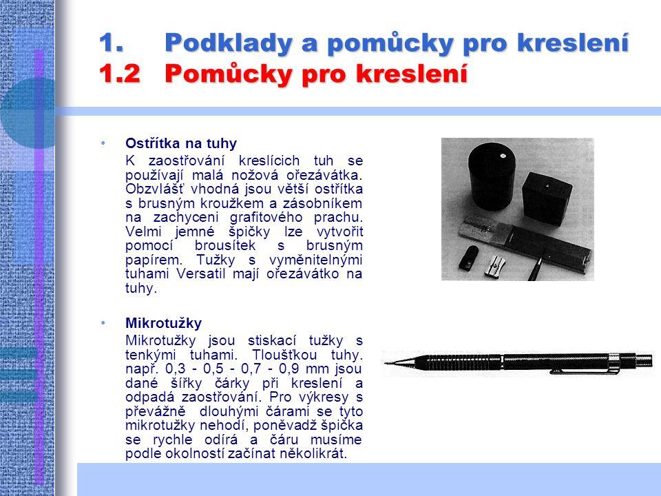 1.Podklady a pomůcky pro kreslení 1.2Pomůcky pro kreslení Ostřítka na tuhy K zaostřování kreslícich tuh se používají malá nožová ořezávátka.