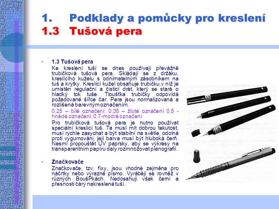 1.Podklady a pomůcky pro kreslení 1.3Tušová pera 1.3 Tušová pera Ke kreslení tuší se dnes používají převážně trubičková tušová pera.