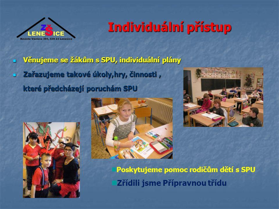 Individuální přístup Věnujeme se žákům s SPU, individuální plány Zařazujeme takové úkoly,hry, činnosti, které předcházejí poruchám SPU Poskytujeme pomoc rodičům dětí s SPU Zřídili jsme Přípravnou třídu