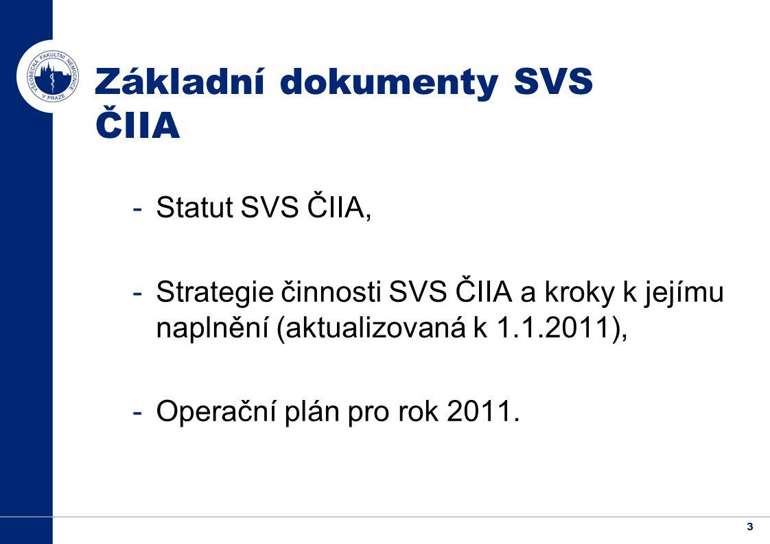 3 Základní dokumenty SVS ČIIA -Statut SVS ČIIA, -Strategie činnosti SVS ČIIA a kroky k jejímu naplnění (aktualizovaná k 1.1.2011), -Operační plán pro rok 2011.
