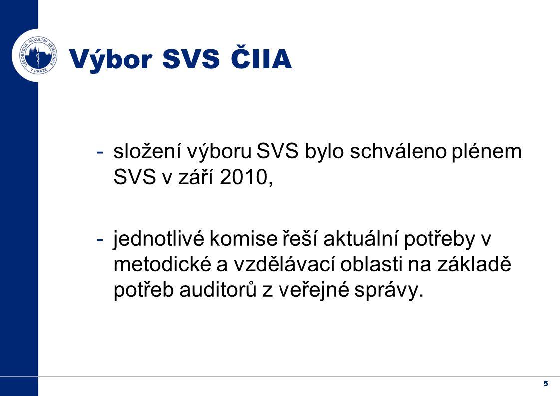 5 Výbor SVS ČIIA -složení výboru SVS bylo schváleno plénem SVS v září 2010, -jednotlivé komise řeší aktuální potřeby v metodické a vzdělávací oblasti na základě potřeb auditorů z veřejné správy.