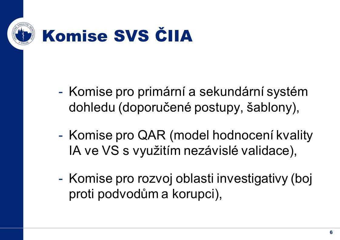 6 Komise SVS ČIIA -Komise pro primární a sekundární systém dohledu (doporučené postupy, šablony), -Komise pro QAR (model hodnocení kvality IA ve VS s využitím nezávislé validace), -Komise pro rozvoj oblasti investigativy (boj proti podvodům a korupci),