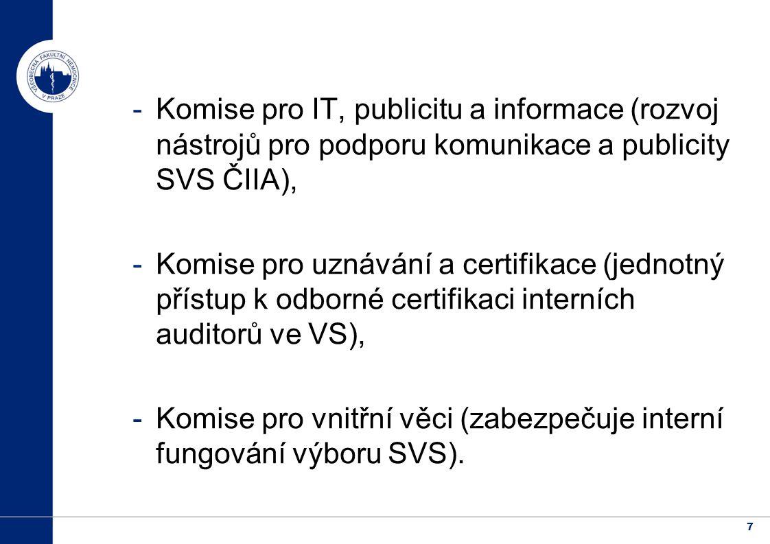 7 -Komise pro IT, publicitu a informace (rozvoj nástrojů pro podporu komunikace a publicity SVS ČIIA), -Komise pro uznávání a certifikace (jednotný přístup k odborné certifikaci interních auditorů ve VS), -Komise pro vnitřní věci (zabezpečuje interní fungování výboru SVS).