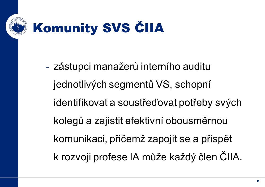 8 Komunity SVS ČIIA -zástupci manažerů interního auditu jednotlivých segmentů VS, schopní identifikovat a soustřeďovat potřeby svých kolegů a zajistit efektivní obousměrnou komunikaci, přičemž zapojit se a přispět k rozvoji profese IA může každý člen ČIIA.