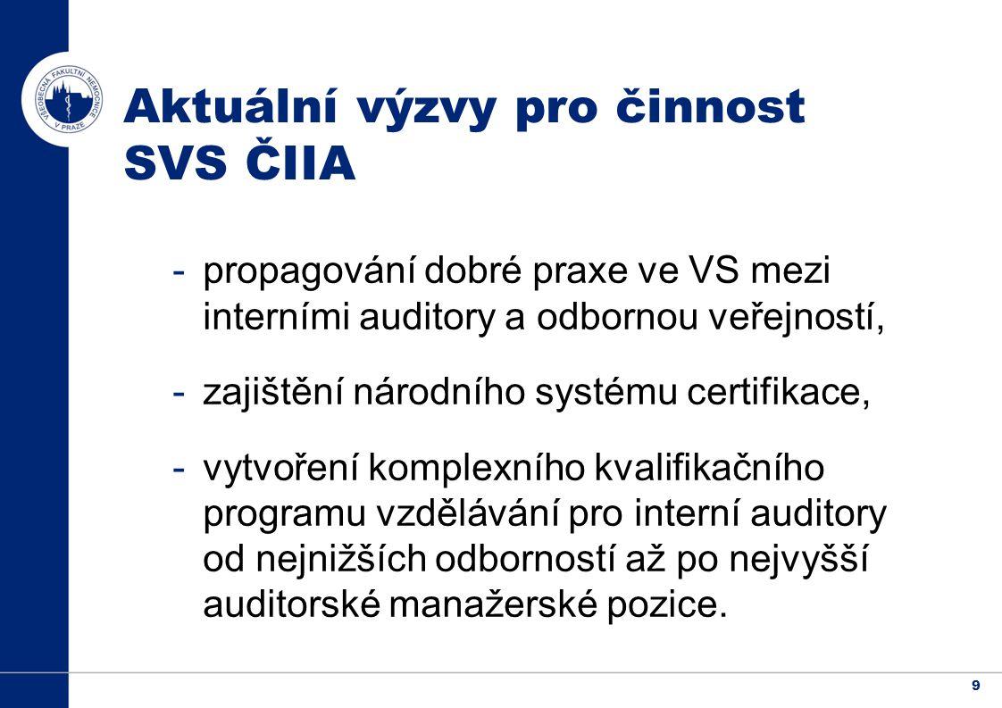 9 Aktuální výzvy pro činnost SVS ČIIA -propagování dobré praxe ve VS mezi interními auditory a odbornou veřejností, -zajištění národního systému certifikace, -vytvoření komplexního kvalifikačního programu vzdělávání pro interní auditory od nejnižších odborností až po nejvyšší auditorské manažerské pozice.