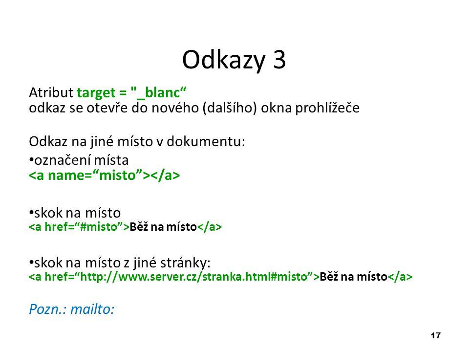 17 Odkazy 3 Atribut target =