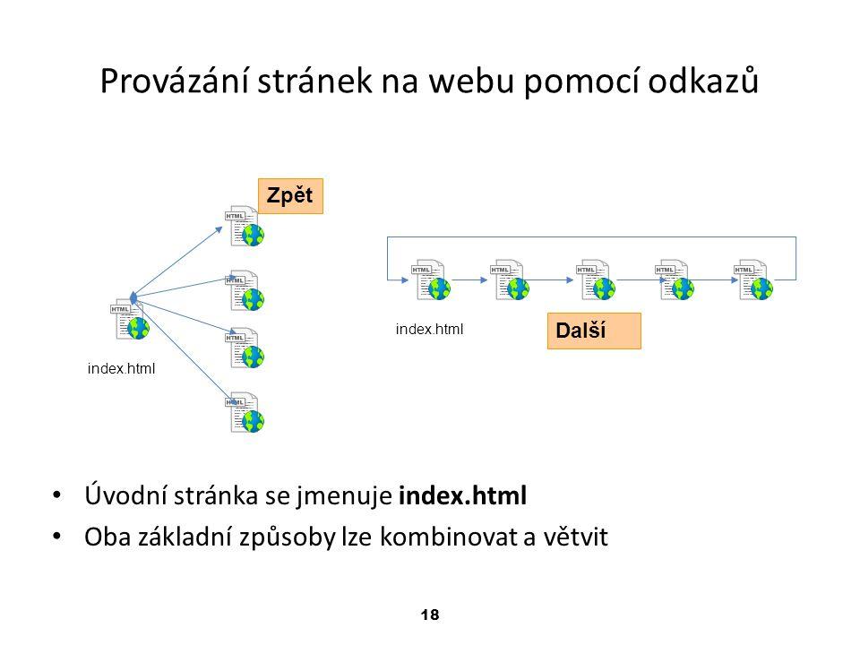18 Provázání stránek na webu pomocí odkazů index.html Úvodní stránka se jmenuje index.html Oba základní způsoby lze kombinovat a větvit Zpět Další