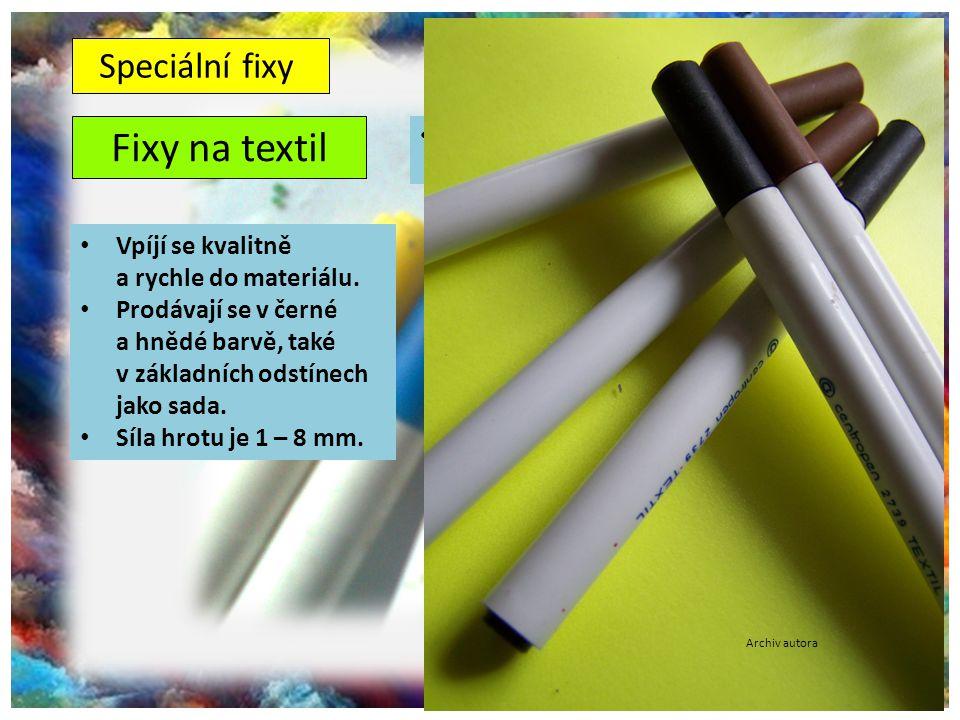 ©c.zuk Fixy na textil Archiv autora Používají se pro kresbu na látku (kresba na trička, hedvábí apod.) Vpíjí se kvalitně a rychle do materiálu. Prodáv