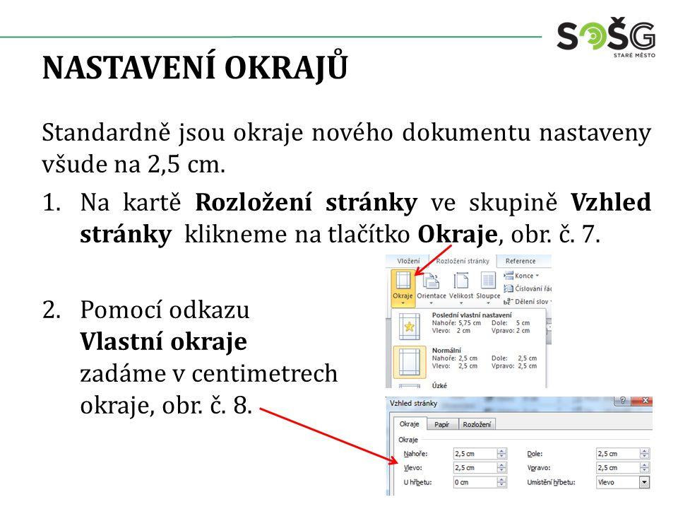 NASTAVENÍ OKRAJŮ Standardně jsou okraje nového dokumentu nastaveny všude na 2,5 cm. 1.Na kartě Rozložení stránky ve skupině Vzhled stránky klikneme na