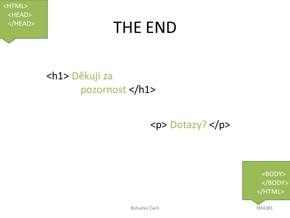 THE END Děkuji za pozornost Dotazy? Bohuslav Čech3MA381
