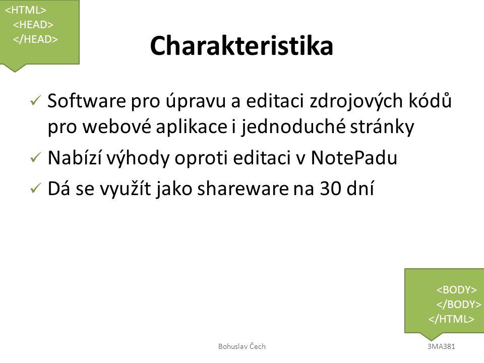 Výhody v začátcích Nápověda kódu při psaní úvodních písem Vybarvování struktury kódu Kontrola otevřených tagů Možnost využít šablon K vyzkoušení zdarma Bohuslav Čech3MA381