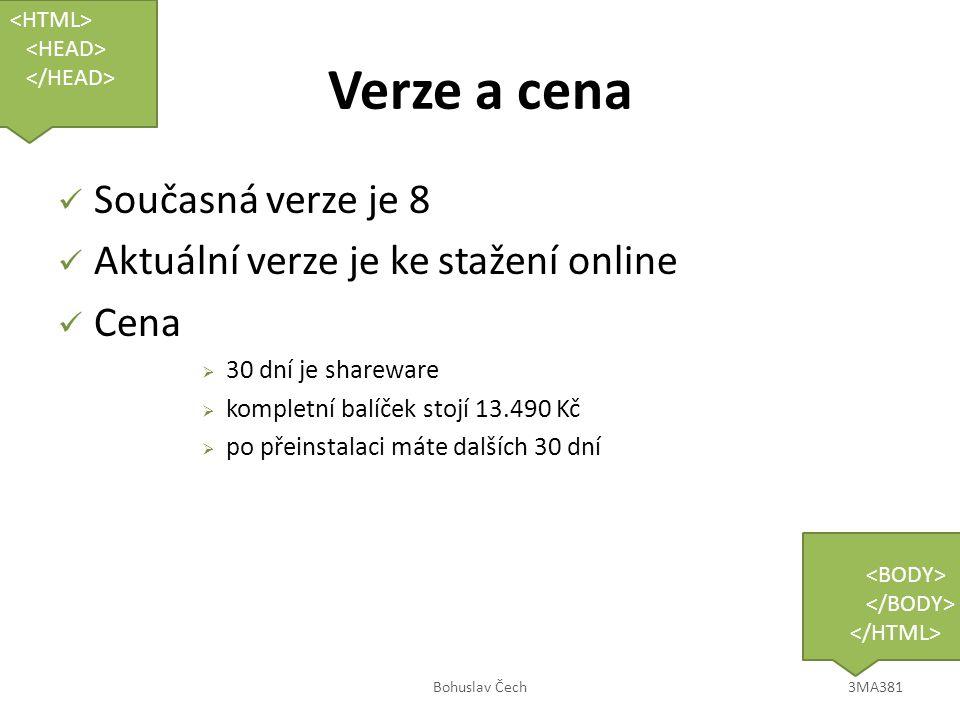 Verze a cena Současná verze je 8 Aktuální verze je ke stažení online Cena  30 dní je shareware  kompletní balíček stojí 13.490 Kč  po přeinstalaci