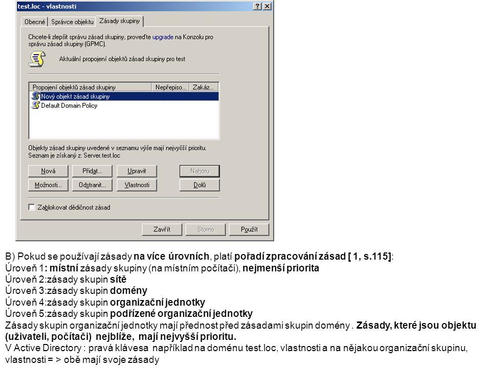 Vytvoření nové organizační jednotky: 1.Spustit Active Directory 2.