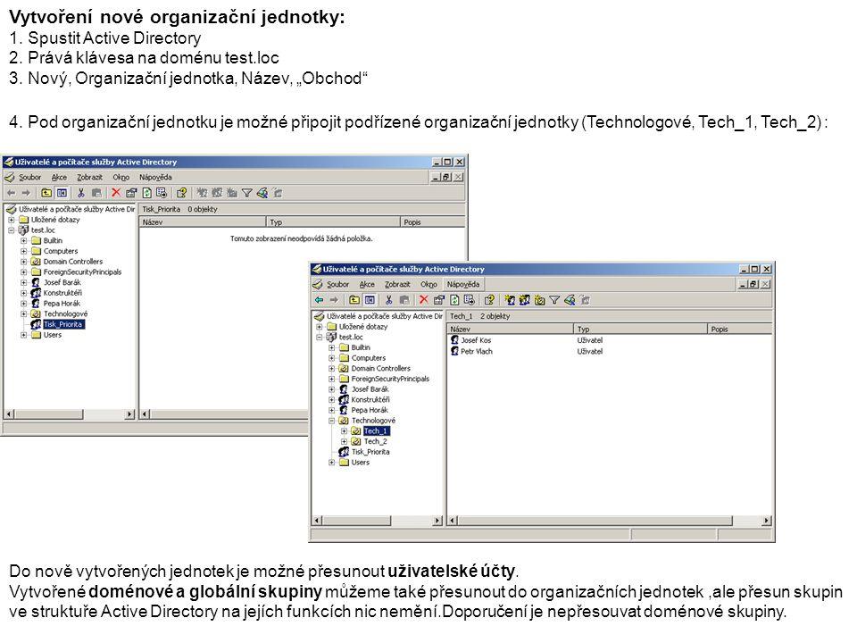 Vytvoření nové organizační jednotky: 1. Spustit Active Directory 2.