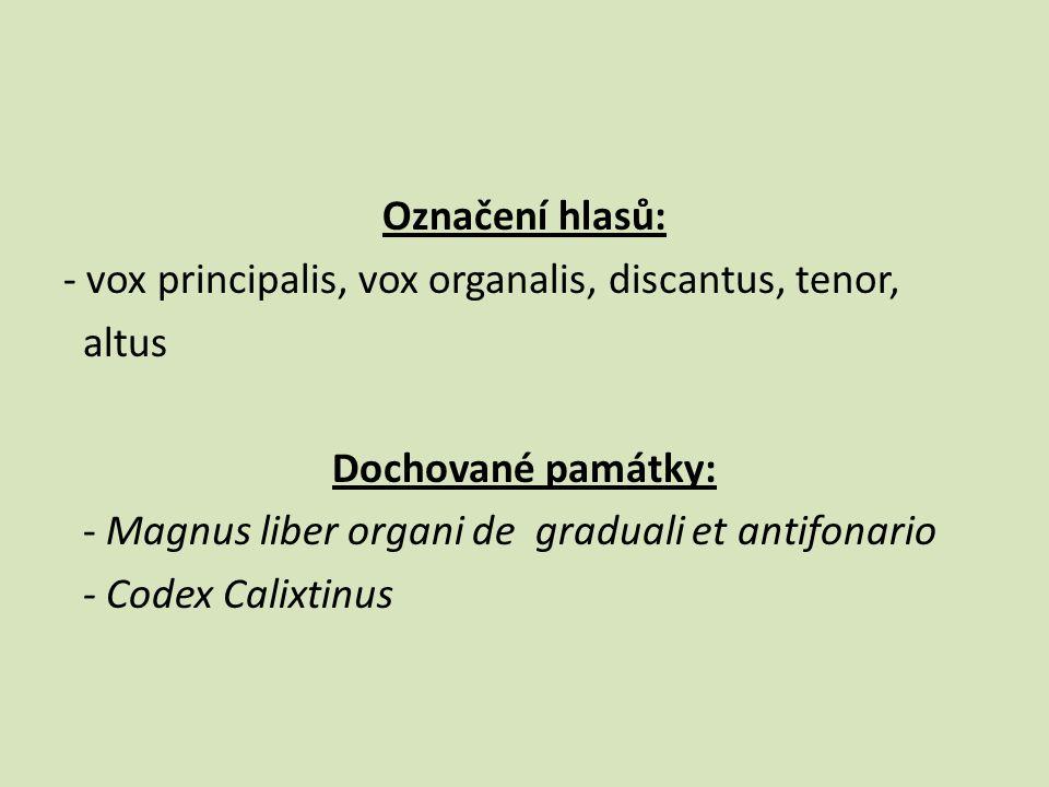 Označení hlasů: - vox principalis, vox organalis, discantus, tenor, altus Dochované památky: - Magnus liber organi de graduali et antifonario - Codex