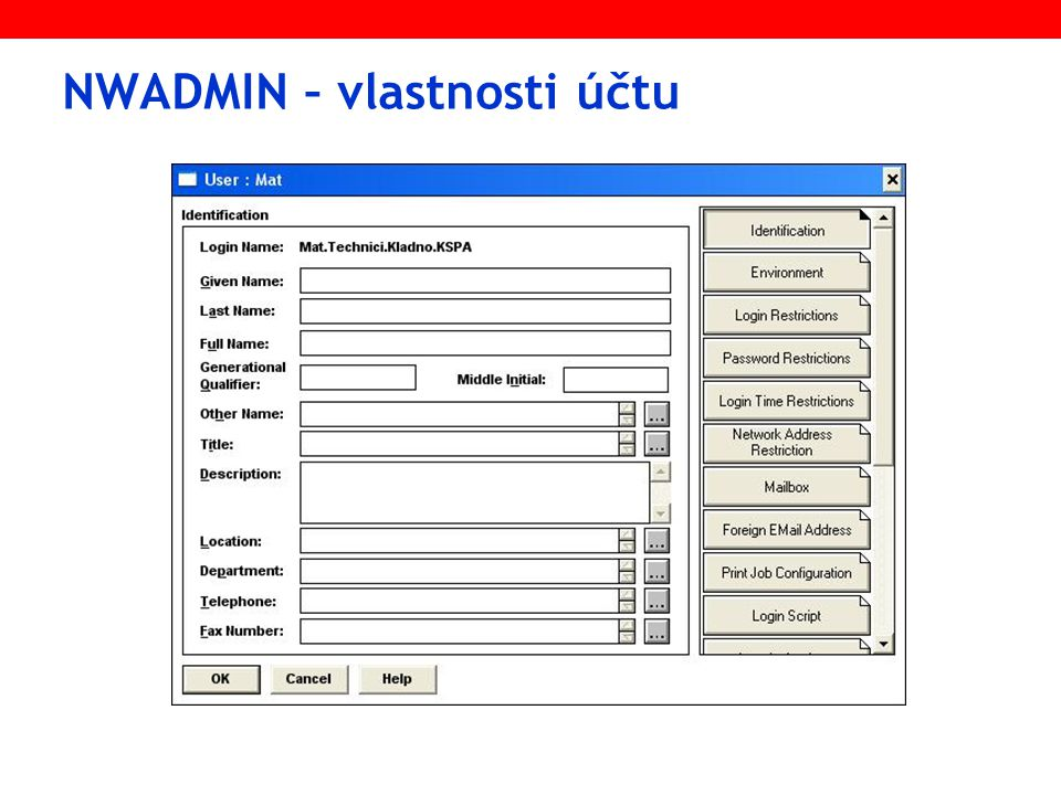 NWADMIN – vlastnosti účtu