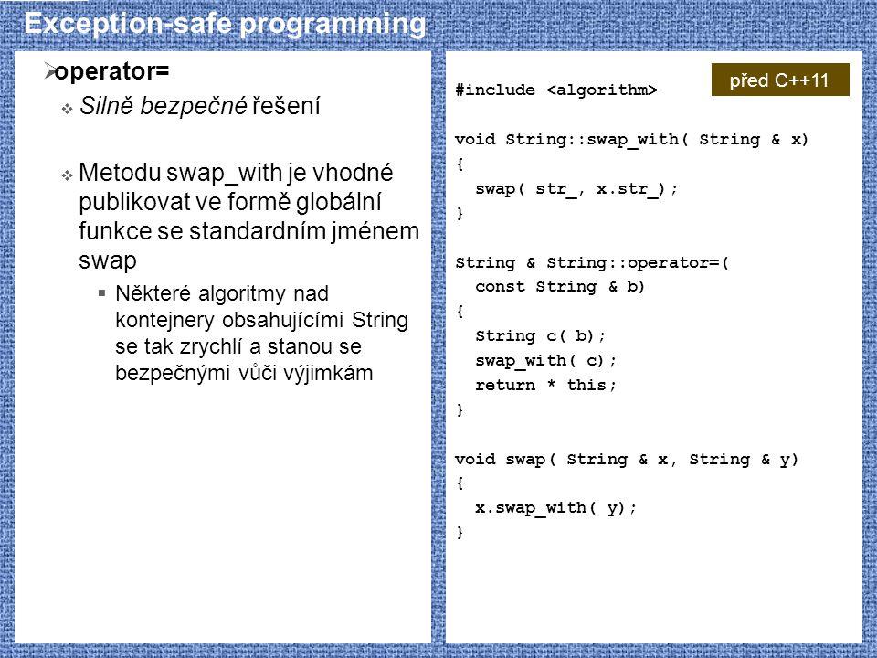 Exception-safe programming  operator=  Silně bezpečné řešení  Metodu swap_with je vhodné publikovat ve formě globální funkce se standardním jménem