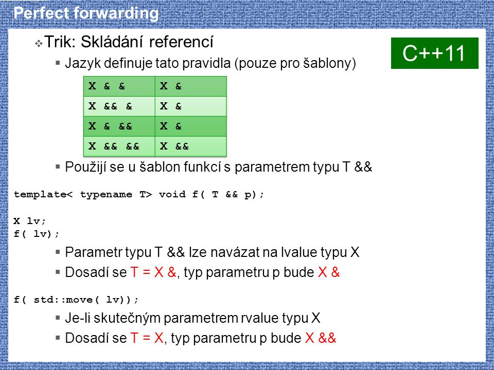 Perfect forwarding  Trik: Skládání referencí  Jazyk definuje tato pravidla (pouze pro šablony)  Použijí se u šablon funkcí s parametrem typu T && t