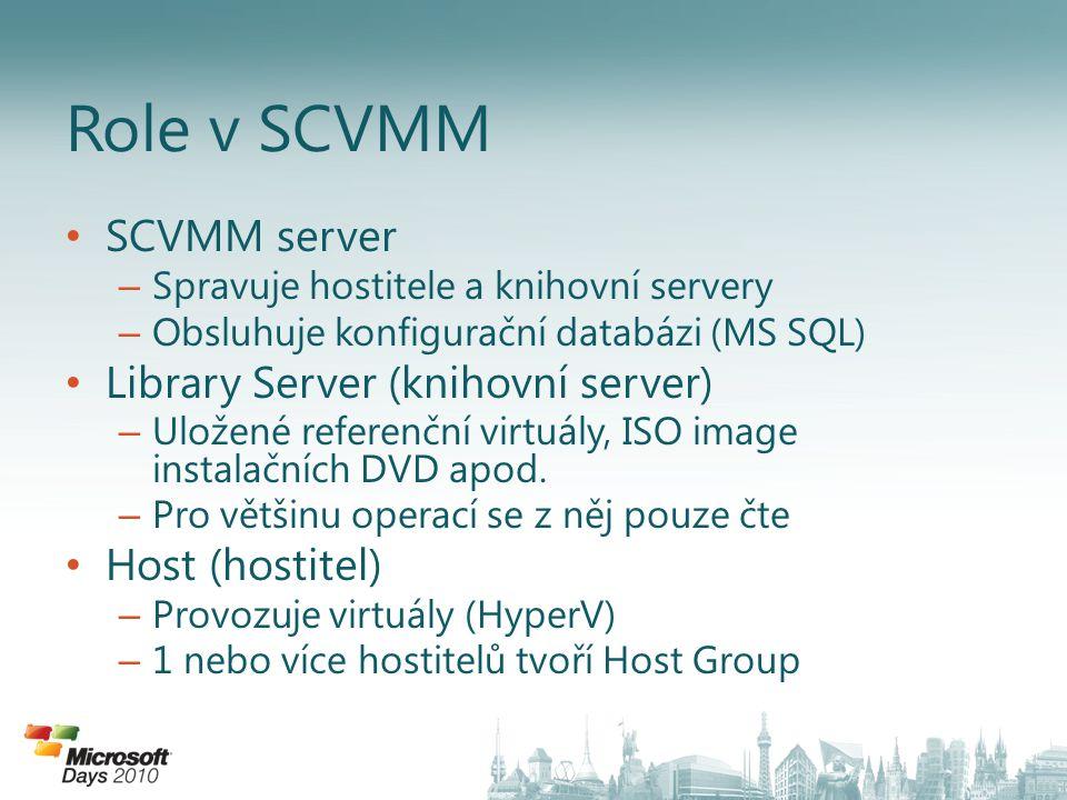 SCVMM server – Spravuje hostitele a knihovní servery – Obsluhuje konfigurační databázi (MS SQL) Library Server (knihovní server) – Uložené referenční virtuály, ISO image instalačních DVD apod.