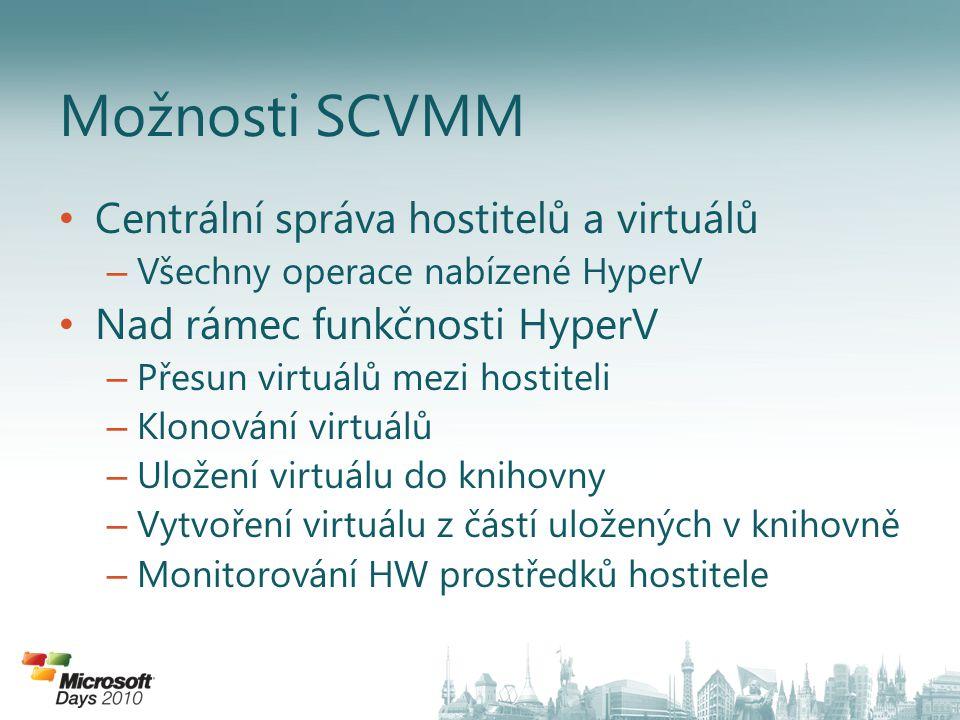 Centrální správa hostitelů a virtuálů – Všechny operace nabízené HyperV Nad rámec funkčnosti HyperV – Přesun virtuálů mezi hostiteli – Klonování virtuálů – Uložení virtuálu do knihovny – Vytvoření virtuálu z částí uložených v knihovně – Monitorování HW prostředků hostitele Možnosti SCVMM