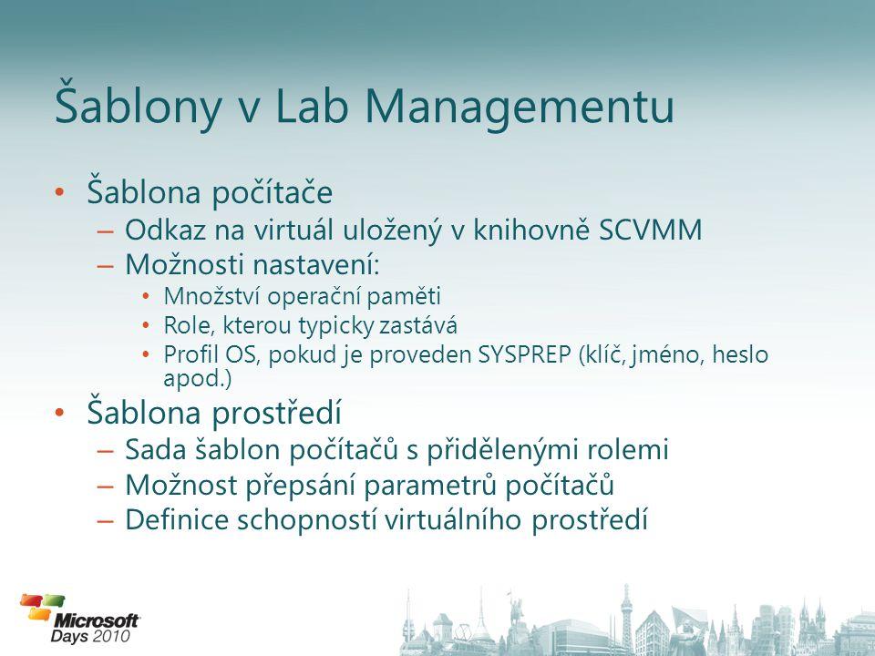 Šablona počítače – Odkaz na virtuál uložený v knihovně SCVMM – Možnosti nastavení: Množství operační paměti Role, kterou typicky zastává Profil OS, pokud je proveden SYSPREP (klíč, jméno, heslo apod.) Šablona prostředí – Sada šablon počítačů s přidělenými rolemi – Možnost přepsání parametrů počítačů – Definice schopností virtuálního prostředí Šablony v Lab Managementu