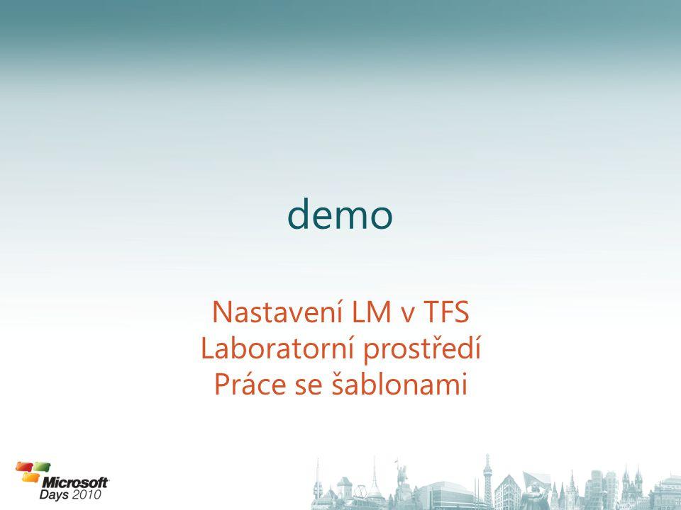 demo Nastavení LM v TFS Laboratorní prostředí Práce se šablonami
