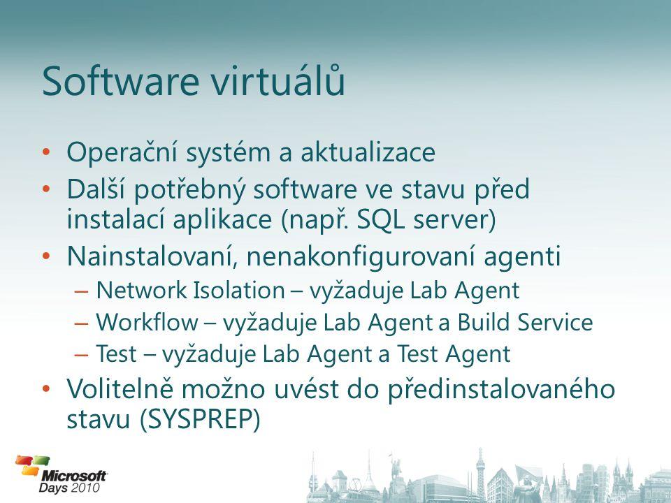 Operační systém a aktualizace Další potřebný software ve stavu před instalací aplikace (např.