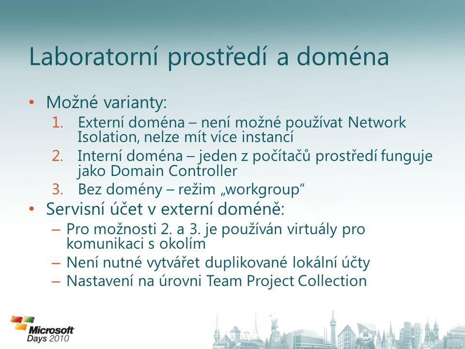"""Možné varianty: 1.Externí doména – není možné používat Network Isolation, nelze mít více instancí 2.Interní doména – jeden z počítačů prostředí funguje jako Domain Controller 3.Bez domény – režim """"workgroup Servisní účet v externí doméně: – Pro možnosti 2."""