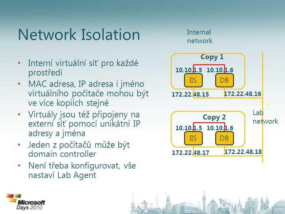 Interní virtuální síť pro každé prostředí MAC adresa, IP adresa i jméno virtuálního počítače mohou být ve více kopiích stejné Virtuály jsou též připojeny na externí síť pomocí unikátní IP adresy a jména Jeden z počítačů může být domain controller Není třeba konfigurovat, vše nastaví Lab Agent Network Isolation IISDB 10.10.1.510.10.1.6 172.22.48.15 172.22.48.16 Copy 1 IISDB 10.10.1.510.10.1.6 172.22.48.17 172.22.48.18 Copy 2 Internal network Lab network